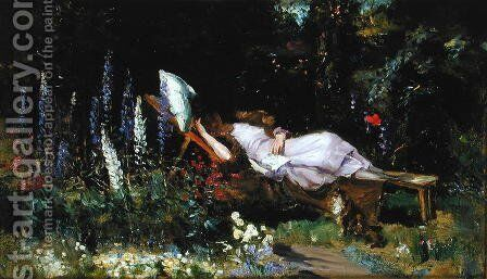 An Afternoon Nap by Harry Mitten Wilson - Reproduction Oil Painting