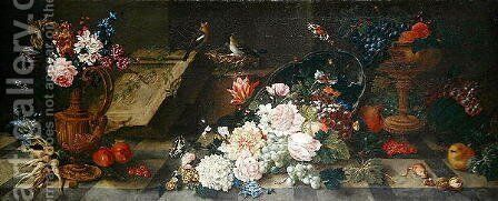 Still Life with Flowers and Fruit, c.1785-87 by Johann Amandus Winck - Reproduction Oil Painting