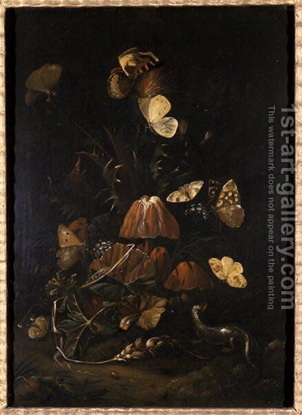 Flowers with butterflies and lizard by Johann Christian Thomas Winck - Reproduction Oil Painting