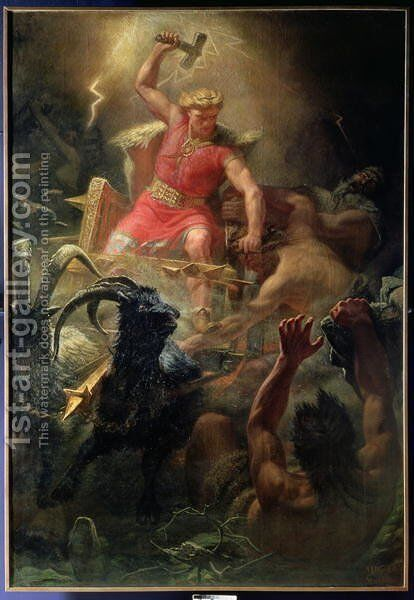 Thors Fight with the Giants, 1872 by Marten Eskil Winge - Reproduction Oil Painting