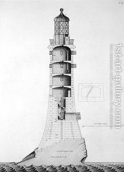 Edystone Lighthouse engraved by Edward Rooker (c.1712-74), 1763 by (after) Winstanley, Henry - Reproduction Oil Painting