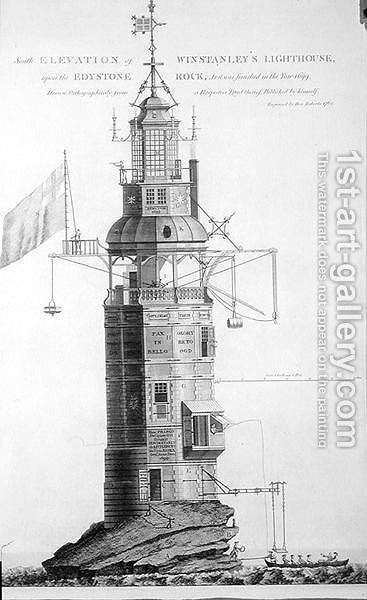 Edystone Lighthouse engraved by Henry Roberts (fl.1762), 1762 by (after) Winstanley, Henry - Reproduction Oil Painting