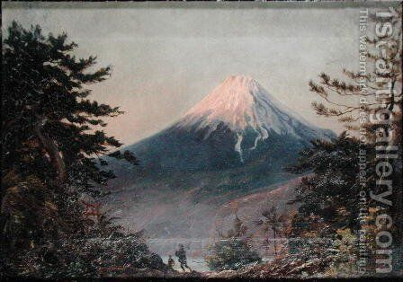A View of Mount Fusiyama with Figures in the Foreground by (attributed to) Wirgman, Charles - Reproduction Oil Painting