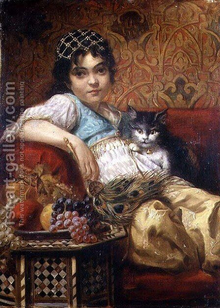 The Cat by Anne Marie Wirth - Reproduction Oil Painting