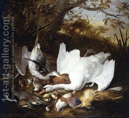 Still Life of Swan and Game in a Landscape by Jan de Wit - Reproduction Oil Painting