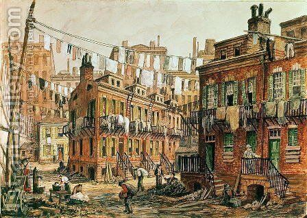 Sketch of Baxter Street, New York, 1880s by Charles W. Witham - Reproduction Oil Painting