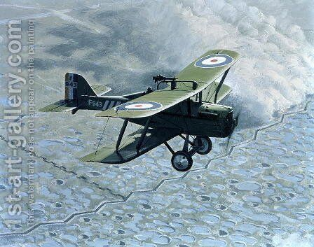 Royal Aircraft Factory SE5, single seater with Vickers and Lewis gun, powered by Hispano-Suiza, 1914-18 by B. Withams - Reproduction Oil Painting