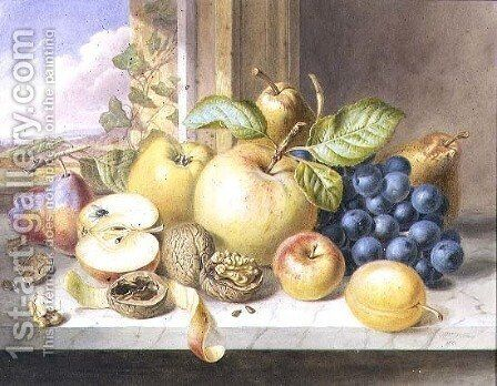 A Still Life of Apples, Grapes, Pears, Plums and Walnuts on a Window Ledge by Augusta Innes Withers - Reproduction Oil Painting
