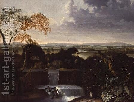 Extensive Landscape with a Watermill by Mathias Withoos - Reproduction Oil Painting