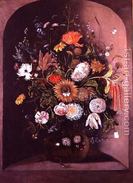 Mixed Flowers in a Glass Bowl in a Niche with a Lizard and a Mouse by Mathias Withoos - Reproduction Oil Painting
