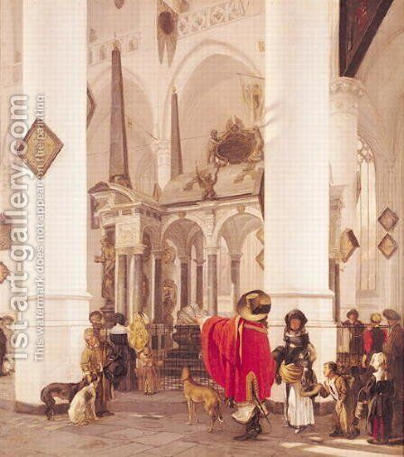 Interior of the Nieuwe Kerk, Delft, 1656 by Emanuel de Witte - Reproduction Oil Painting