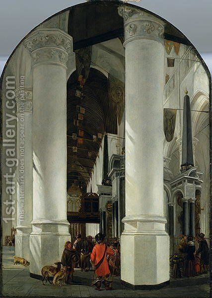 Interior view of the New Church in Delft by Emanuel de Witte - Reproduction Oil Painting