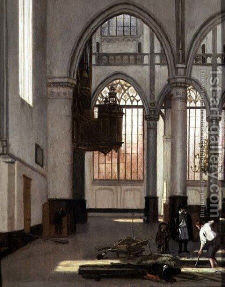 Gravediggers in the west end of the Oude Kerk, Amsterdam by Emanuel de Witte - Reproduction Oil Painting