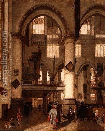 Interior of the Oude Kerk, Amsterdam by Emanuel de Witte - Reproduction Oil Painting