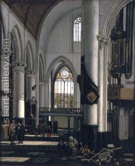 Interior of an Imaginary Protestant Gothic Church by Emanuel de Witte - Reproduction Oil Painting