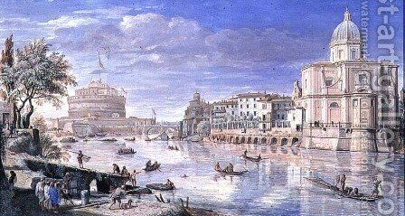 View of the Castel Sant Angelo, Rome, 1685 by Caspar Andriaans Van Wittel - Reproduction Oil Painting