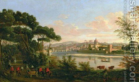 View of Florence from the Cascine by Caspar Andriaans Van Wittel - Reproduction Oil Painting