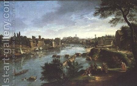 View of the River Tiber in Rome by Caspar Andriaans Van Wittel - Reproduction Oil Painting