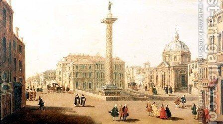 The Piazza Colonna, Rome by Caspar Andriaans Van Wittel - Reproduction Oil Painting