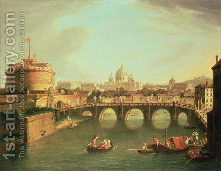 A View of Rome with the Bridge and Castel St. Angelo by the Tiber by Caspar Andriaans Van Wittel - Reproduction Oil Painting