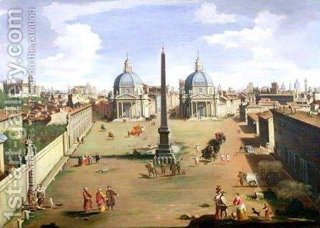 A View of the Piazza del Popolo in Rome by (circle of) Wittel, Gaspar van (Vanvitelli) - Reproduction Oil Painting