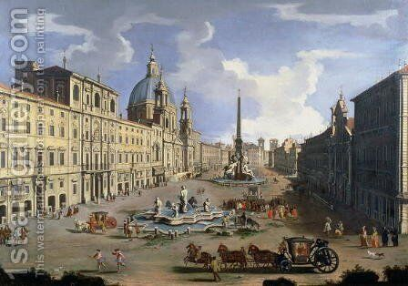 A View of the Piazza Navona in Rome by (circle of) Wittel, Gaspar van (Vanvitelli) - Reproduction Oil Painting