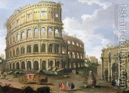 A View of the Colosseum in Rome by (circle of) Wittel, Gaspar van (Vanvitelli) - Reproduction Oil Painting