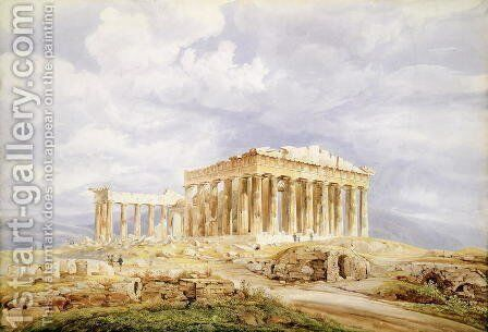 The Parthenon, Athens by Johan Wolfensberger - Reproduction Oil Painting