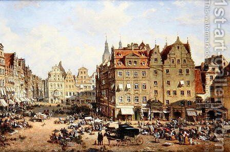 The Market in Wroclaw, 1877 by Adelbert Wolfl - Reproduction Oil Painting