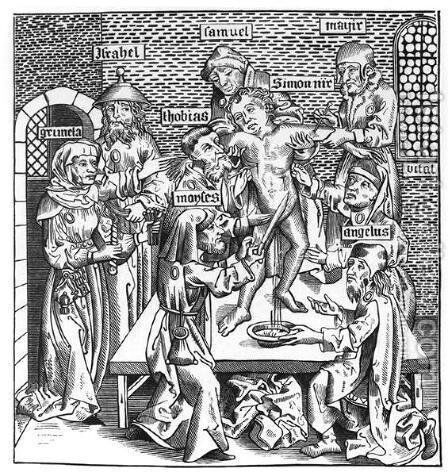 Martyrdom of Simon at Trent, after a woodcut in Liber Chronicarum Mundi, published Nuremburg, 1493 by Michael Wolgemut - Reproduction Oil Painting