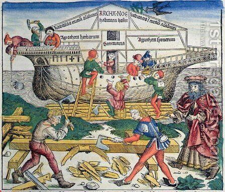 The Building of Noahs Ark, from the Nuremberg Chronicle by Hartmann Schedel, 1493 by Michael Wolgemut - Reproduction Oil Painting