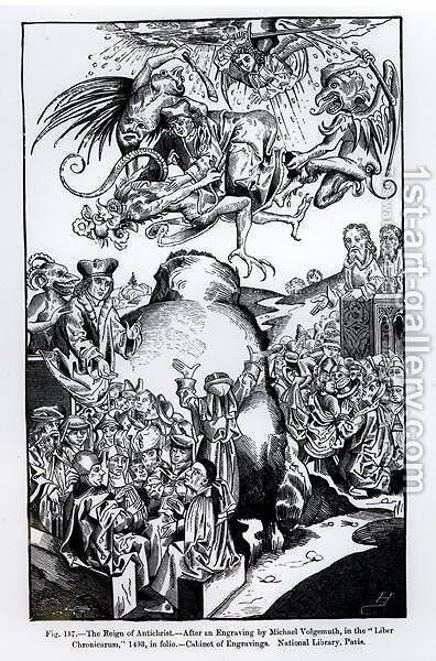 The Reign of Antichrist, from the Liber Chronicarum, published in 1493, illustration from, Science and Literature in the Middle Ages and Renaissance, written and engraved by Paul Lacroix, 1878 by Michael Wolgemut - Reproduction Oil Painting