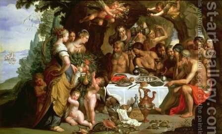 The Feast of Achelous, 1625-29 by Artus Wollfort - Reproduction Oil Painting