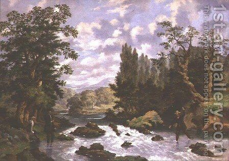 Anglers Playing their Catch by Dean Wolstenholme, Jr - Reproduction Oil Painting