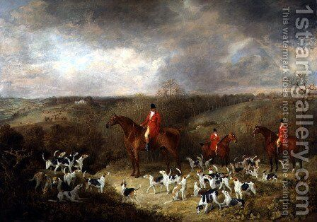 Lord Glamis and his Staghounds, 1823 by Dean Wolstenholme, Snr. - Reproduction Oil Painting
