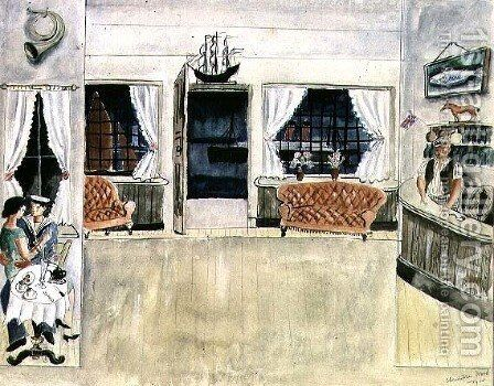 The Bar of the Ship Inn, St. Ives, 1925 by Christopher Wood - Reproduction Oil Painting