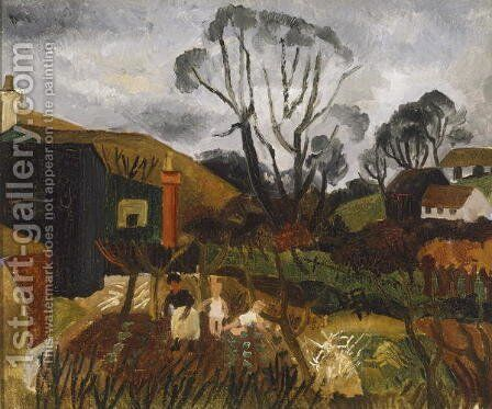 Cottages in Cornwall, 1928 by Christopher Wood - Reproduction Oil Painting
