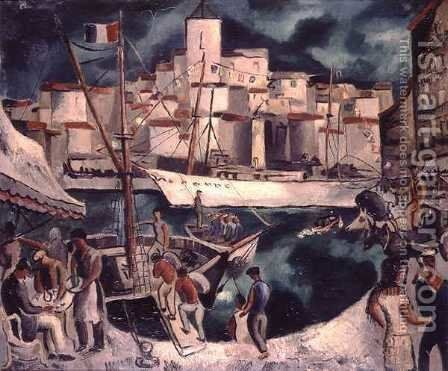 Marseilles Harbour by Christopher Wood - Reproduction Oil Painting