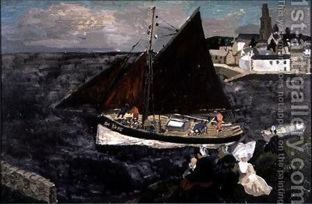 French Crab Boat, Treboul, 1929 by Christopher Wood - Reproduction Oil Painting