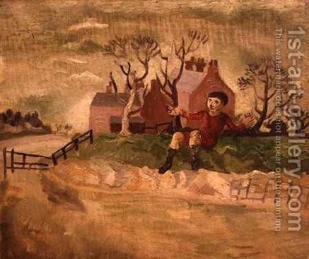 Boy Jumping a Stream by Christopher Wood - Reproduction Oil Painting