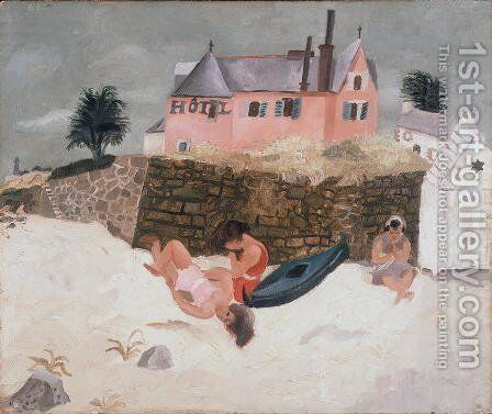 La Plage Hotel, Ty-Mad, Treboul, 1930 by Christopher Wood - Reproduction Oil Painting