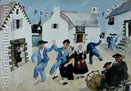 Dancing Sailors, Brittany, 1930 by Christopher Wood - Reproduction Oil Painting