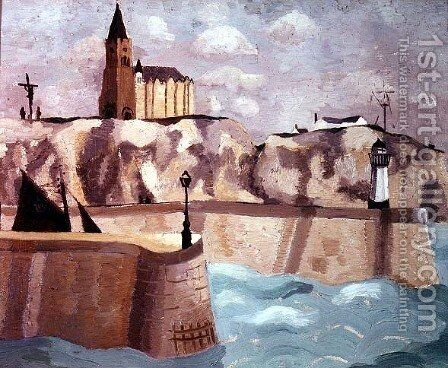 Church on the Cliff, Dieppe, 1929 by Christopher Wood - Reproduction Oil Painting