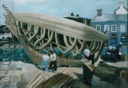 Building the Boat, Treboul, 1930 by Christopher Wood - Reproduction Oil Painting