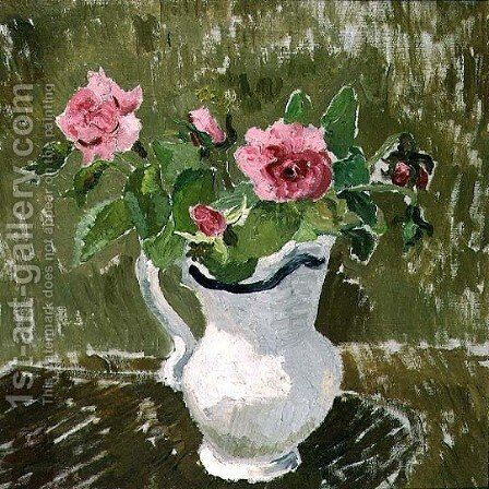Roses in a White Jug, 1928 by Christopher Wood - Reproduction Oil Painting