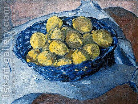 Lemons in a Blue Basket, 1922 by Christopher Wood - Reproduction Oil Painting