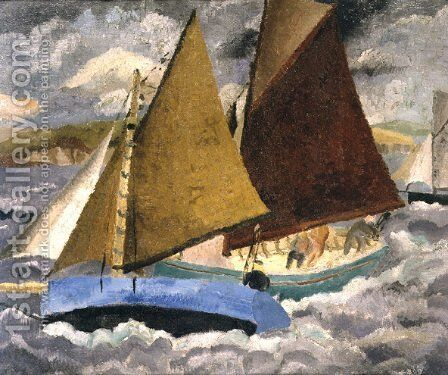 Yacht Race at Portscato, Cornwall, 1928 by Christopher Wood - Reproduction Oil Painting