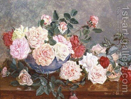Roses in a Blue Vase by Eleanor Stuart Wood - Reproduction Oil Painting