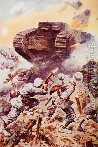 Tanks in Action, illustration from The Outline of History by H.G. Wells, Volume II, published in 1920 by Stanley L. Wood - Reproduction Oil Painting