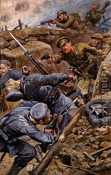 Captain Reginald James Young winning the Military Cross at the Battle of the Somme, 1916 by Stanley L. Wood - Reproduction Oil Painting